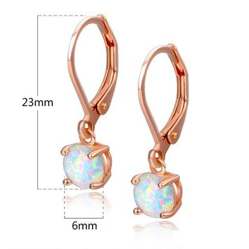 STYLEDOME UMODE Fashion Round White Fire Opal Women Drop Pendant Earrings Bridal Female Luxury Rose Gold Vintage Jewelry UE0402B