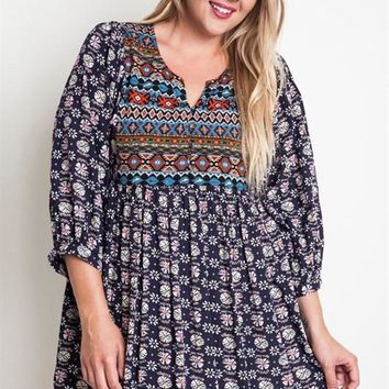 Navy Bohemian Embroidered Plus Size Dress