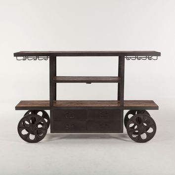 Industrial Teak Bar Cart Table on Wheels - 66""