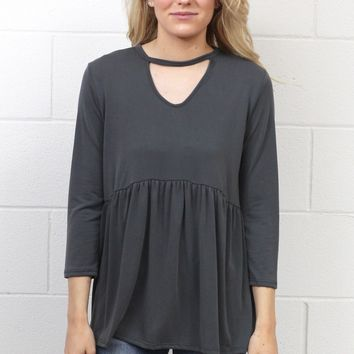 Modal Keyhole + Smocked Waist Top {Charcoal}