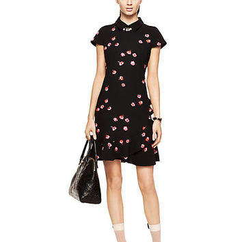 Kate Spade Petite Falling Florals Ruffle Dress Black