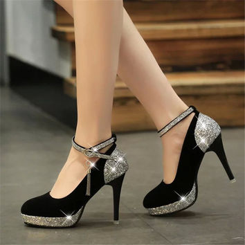 Platform Pumps 2015 Italian Shoe And Bag Set For Party In Women Pointed Toe High Heels Sequined Cloth Wear Light Plateau