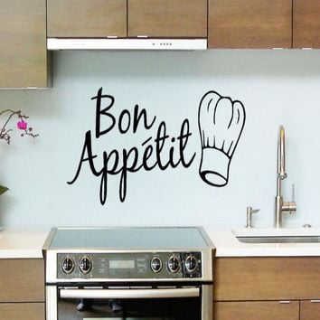 1PC Vinyl Wall Stickers Quote Bon Appetit Dinning Room Decor Kitchen Decals Art Wall Sticker Home Decor 2017 fashion