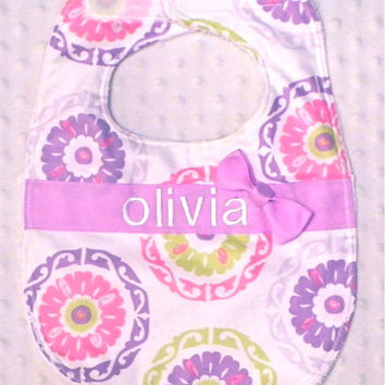 Personalized Bib with Matching Bow - Baby Girl Purple Lime and Pink Suzani Medallions