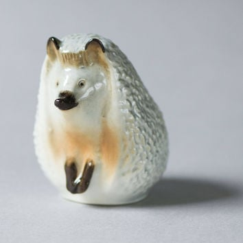 Vintage hedgehog porcelain figurine Soviet era, grey shades hedgehog home decor, small hedgehog rare porcelain figurine 70s Russian gift