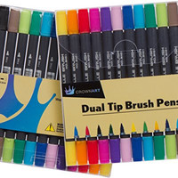 CrownArt - 12 Pack Dual Tip Brush Pens - Brush Tip and Fine Tip Water Based Coloring Markers for Novice to Expert Artists - Assorted Colors are Great for Calligraphy Blending Coloring Drawing Shading