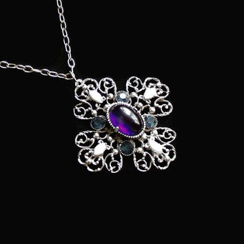 Large Maltese Filigree Cross Pendant Necklace, With Purple Cabochon, Blue Rhinestones, And Faux Marquis Pearls, In Silver Tone