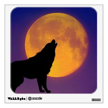 Wolf Howling at the Moon Wall Decal