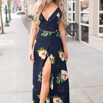 Everyday Escape Ruffle Sleeve Detail Self Tie Back Detail Floral Wrap Dress (Navy)