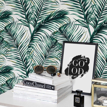 Green Watercolor Leaves Removable wallpaper/ Self-adhesive/ Regular wallpaper / Leaf Wallpaper