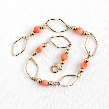 Vintage Coral Bracelet - Retro 14k Rosy Yellow Gold Filled Genuine Light Pink Gem Bead Panel Jewelry - 7 Inch Dainty Estate Gift For Her