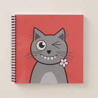 Funny Winking Cartoon Kitty Cat Notebook