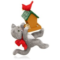 Mischievous Kittens With Bird Feeder and Cardinal Ornament