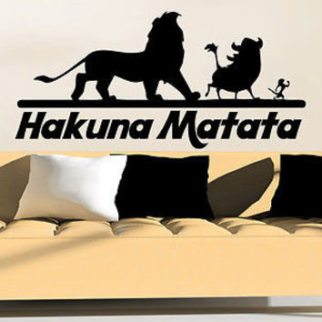 Wall Decal Quote Hakuna Matata Animals Vinyl Sticker Nursery Bedroom Decor C92