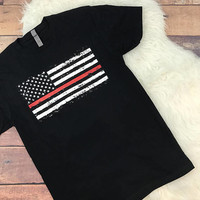 Thin Red Line Unisex T Shirt • Screen Printed • Support • Family • Flag • Stars • Fire • Fire Fighter • Marshall • Red