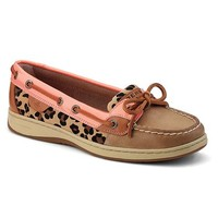 New Sperry Women's Angelfish Boat Shoes Linen/Peach/Leopard 8.5
