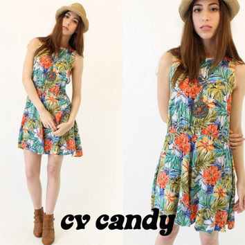90s Vintage Tropical Floral Dress / Summer by CrushVintageCandy
