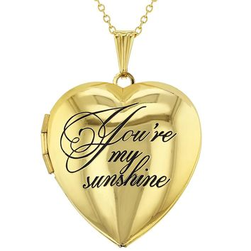 You're My Sunshine Love Family Photo Heart Locket Necklace Pendant 19""