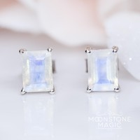 Moonstone Earrings - Rumi Studs