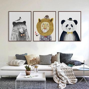 Nordic Watercolor Animal Lion Bear Panda Canvas Painting A4 No Framed Art Prints Poster Wall Picture For Living Room Kids Room