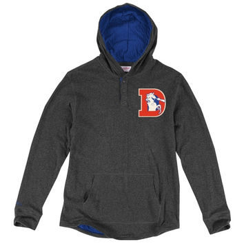 Denver Broncos Mitchell & Ness Hooded Long Sleeve T-Shirt - Charcoal