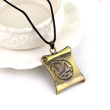 Vintage harry DA Magic scroll necklaces for movie fans leather rope potter parchment book pendants for dropshipping