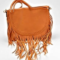 Boho Fringe Leather Crossbody Bag - Tan