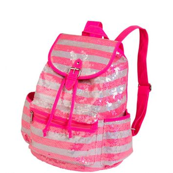 Small Sequin Stripe Rucksack | Girls Totes & Duffles Fashion Bags & Totes | Shop Justice