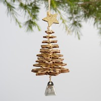 Silver and Gold Wood Snowflake Tree Ornaments Set of 2