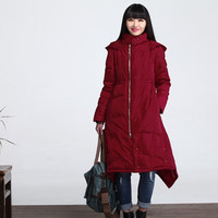 Loose casual Long duck down winter jacket coat women clothing