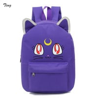 Korean feminine harajuku cat ears Anime backpack 2016 school bags for teenagers girls sale youth Cute luna sailor moon backpacks