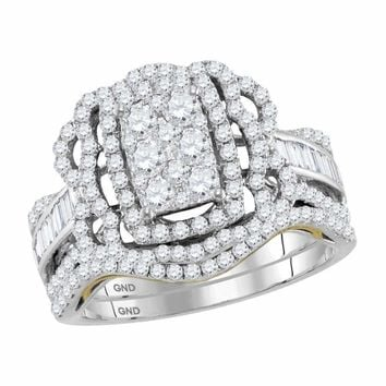 14kt Two-tone White Gold Women's Round Diamond Bridal Wedding Engagement Ring Band Set 1-3/8 Cttw - FREE Shipping (US/CAN)