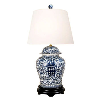 """Beautiful Blue and White Porcelain Ginger Jar Table Lamp Double Happiness 28.5"""""""