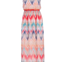 Multicolor Patterned Maxi Dress With Pink Belt - Multi