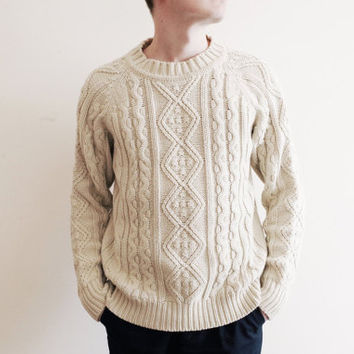 FREE SHIPPING Vintage Christopher Rand mens unisex sweater acrylic cable knit knitted handmade handicraft Scandinavian Nordic Soviet S M L