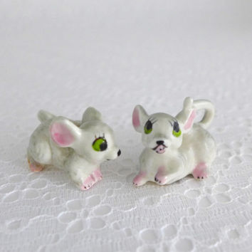 Pair Mice Figurines, Miniature Mice, Small Gray Mice, Mouse Green Eyes, Porcelain Mice, Vintage Mice Figures, Tiny Pink Gray Mouse
