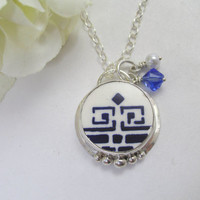 Broken China Necklace Sterling Silver Greek Key Antique German China Vintage China Antique China Swarovski Crystal Classic Blue