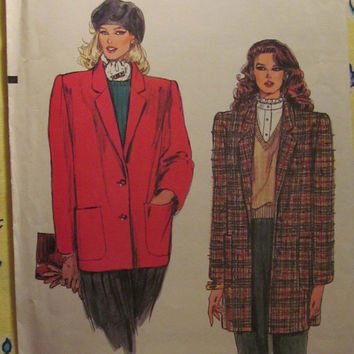 SALE Uncut 1980's Vogue Sewing Pattern, 8426! 12-14-16 Women's/Misses/Long Sleeve Jackets/Unlined Wool Coats/Notched Collar/Extended Shoulde
