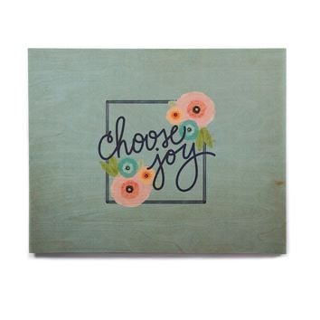 "Noonday Design ""Choose Joy (Floral)"" Teal Coral Digital Birchwood Wall Art"
