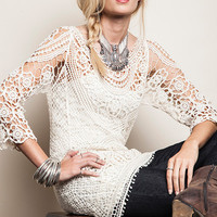 Women's Crochet Lace Top in Ivory With Floral Pattern