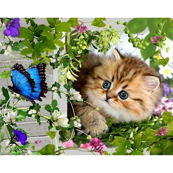 5D Diamond Painting Kitten and the Butterfly Kit
