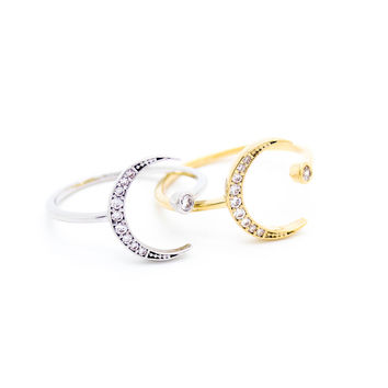 Crescent moon ring (2 colors)