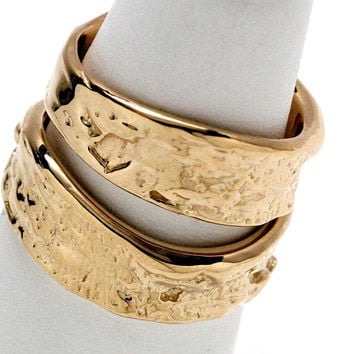 14k gold Tree Bark Ring wedding set custom made in NYC