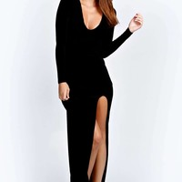 Tanya Cross Back Long Sleeve Maxi Dress