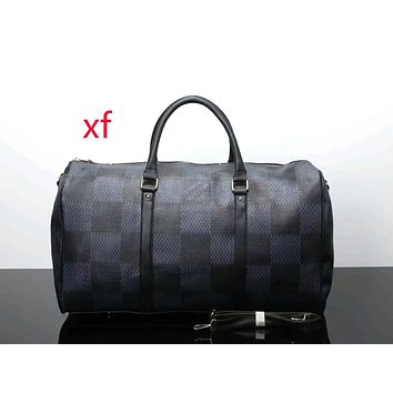 LV ladies leather multicolor luggage travel bag handbag F-LLBPFSH Black lattice