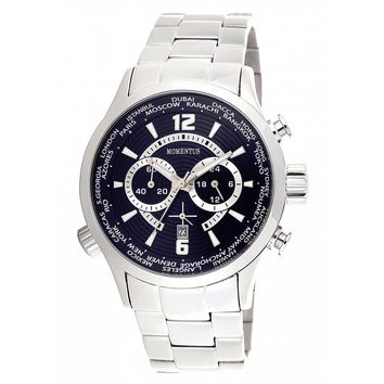 Momentus FS186S-05SS Men's Functional Sport Navy Blue Dial World Time Chrono Steel Bracelet Watch