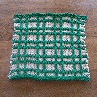 Hand Knit Emerald Green and Cream Plaid Dish Cloth or Wash Cloth