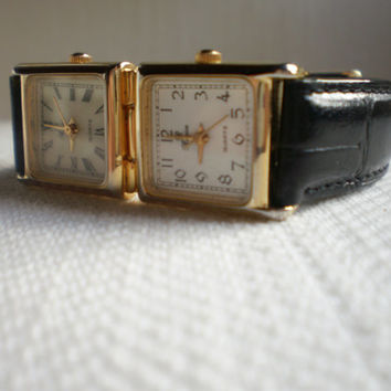 vintage 80's Ronica dual face~ Rare double two 2 face ladies watch~genuine leather~Roman Numerals~free ship