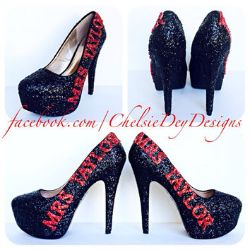 Mrs. Wedding Glitter High Heels