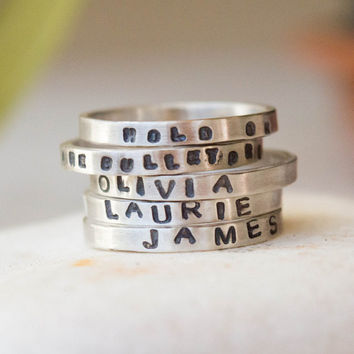 Personalized silver ring, Name ring, Quote ring, Stackable ring, Hand stamped ring,  Made to order ring, Womens ring, Mens ring,Custom stamp